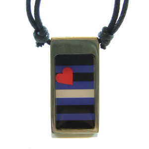 Image of Leather Pride Rectangular Flag Pendant Gay Pride Pewter Necklace