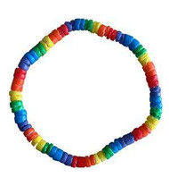 Rainbow Pride Bead Puka Shell Hand OR Ankle Bracelet - Gay and Lesbian LGBT Pride
