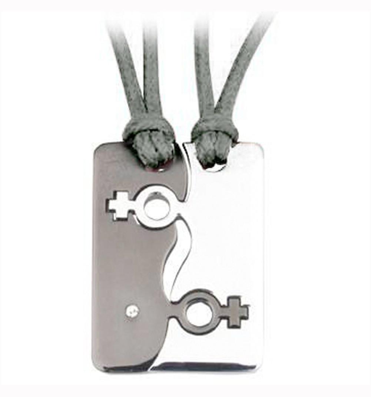 Image of 2pc Set Break Apart Double Female Venus Black ∧ Steel Color Pendants Lesbian Pride Jewelry Set Necklaces w/ PVC Ropes
