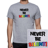 """Never Be Silent""- Gray and Rainbow T-Shirt - LGBT Gay and Lesbian Pride Clothing & Apparel"