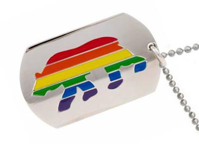 Gay Pride Pewter Necklace Bear Pride Rectangular Flag Pendant