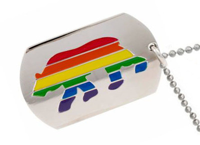 Image of Bear Pride Rainbow Dog Tag Men's Gay Pride Necklace