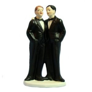 Image of Two Grooms Gay Wedding Cake Topper (Can be Custom Painted) Popular Merchandise Gay Pride Products! Two Black Tux Design
