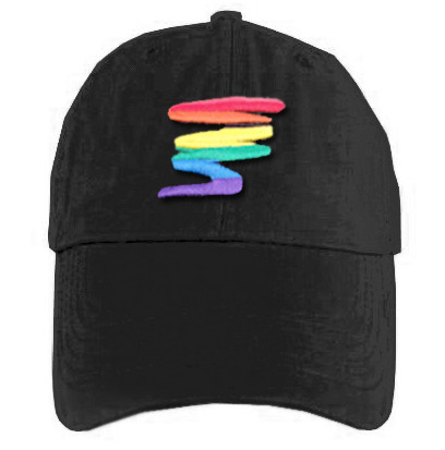 Image of Black Baseball Cap with Gay Rainbow Squiggle LGBT Gay and Lesbian Pride Hat. Gay and Lesbian Pride Clothing ∧ Apparel