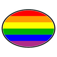 Full Rainbow Oval Mini Car Magnet - LGBT Gay and Lesbian Pride Decal