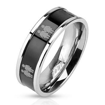 Image of Double Lesbian Female Symbols on Steel Black IP Ring Lesbian Pride Promise or Wedding Ring