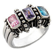 Bisexual / Bi Pride - Triple Jumbo Gem Ladies Ring