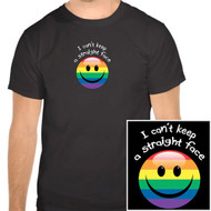 """I Can't Keep a Straight Face"" (Smiley) - Funny Gay Pride Black T-Shirt - LGBT Gay and Lesbian Pride Clothing & Apparel"