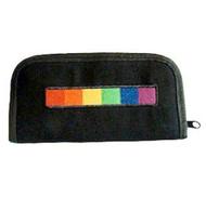 Black Canvas Clutch Wallet with Rainbow Stripe - LGBT Gay and Lesbian