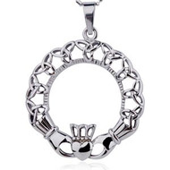 Claddagh Oval Irish Celtic Pendant w/ Chain Necklace (Heart, Crown & Triquetra Symbols) - Stainless Steel Jewelry