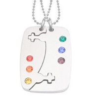2pc Set - Break Apart Double Female Venus Puzzle Pendants - Lesbian Pride Jewelry Set Necklaces w/ 6 Rainbow CZ stones!