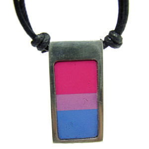 Image of Bisexual / Bi Pride Vertical Flag Pendant Pewter Necklace