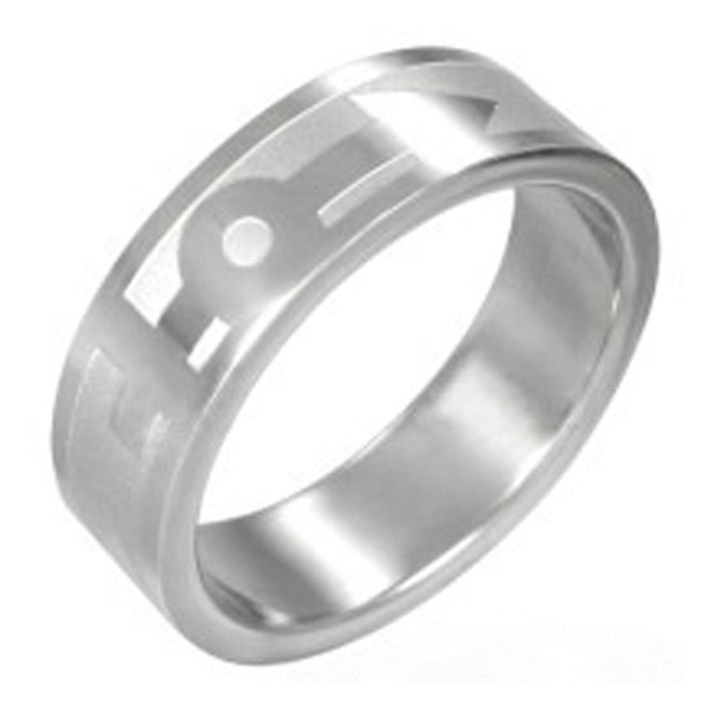 Steel Smooth Etched Male & Female Transgender Symbol Ring - LGBT Pride