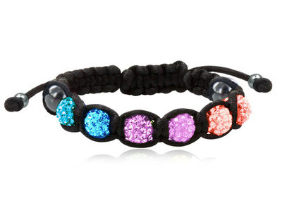 Shamballa Bisexual Pride Adjustable Black Wristlet - Gay and Lesbian LGBT Pride Bracelet
