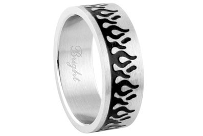 Black Flames Ring - Top Quality 316L Stainless Steel Band