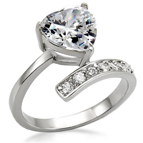 Lift Up My Heart - CZ Stone Ring - Steel Engagement Ring / Commitment Ring for Women