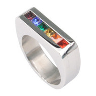 A Rainbow Flat Top CZ Ring - LGBT Gay and Lesbian Pride Stainless Steel Ring