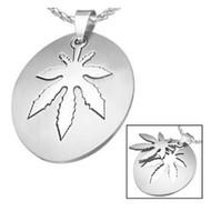Marijuana Symbol - 2pc Stainless Steel Sectional Oval Steel Pendant - 420 Pot Leaf / Hemp Pride Necklace w/ Chain
