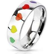 Gay Rainbow Smooth Hearts Ring - Lesbian Pride Jewelry