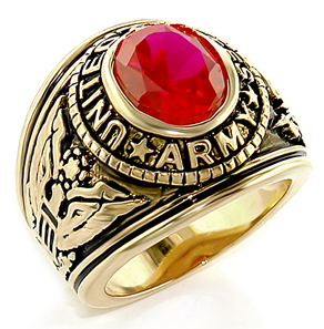 Army - U.S. Armed Forces Military Ring (Gold with Red Stone)