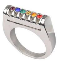 A Rainbow Grooved Top CZ Ring - LGBT Gay and Lesbian Pride Ring