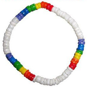 Image of White ∧ Rainbow Pride Bead Puka Shell Hand OR Ankle Bracelet Gay ∧ Lesbian LGBT Pride