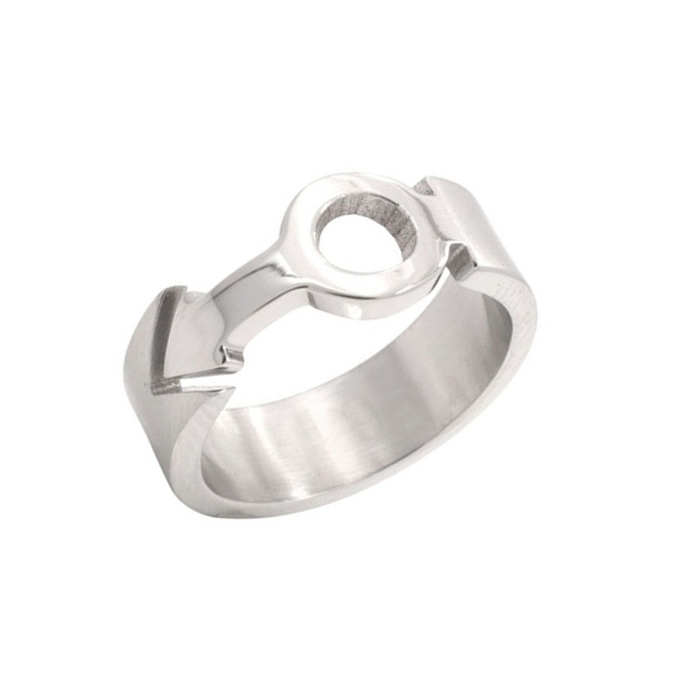 Image of Mars Male Symbol Cut Out Sculpted Ring Steel Gay Pride Ring