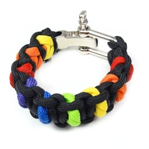 Image of Black and Rainbow Paracord Bracelet Gay Pride Bracelet LGBT Lesbian Pride Wristband