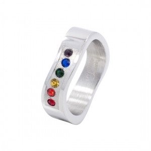 Image of A Rainbow Wave Ring w/ CZ Stones Steel Gay Rings / Lesbian Rings