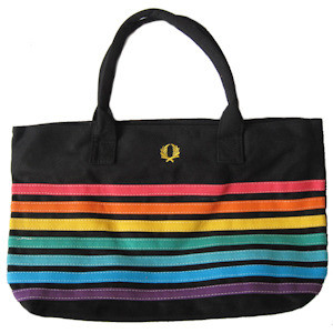 Image of Large Black ∧ Rainbow Pride Beach Tote Bag with zipper closure (12x18 inch) LGBT Gay ∧ Lesbian
