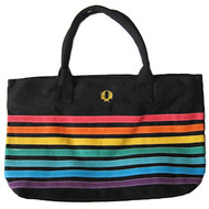 Large Black & Rainbow Pride Beach Tote Bag with zipper closure (12x18 inch) - LGBT Gay & Lesbian
