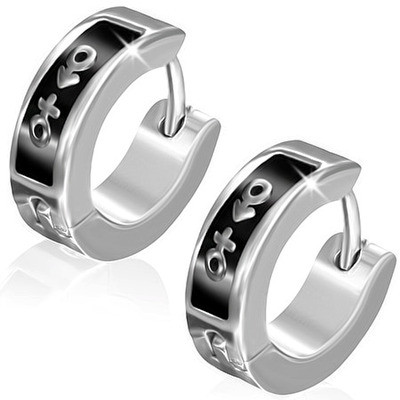 Male Female Symbol Hoop Huggie Earrings - Supporter LGBT Pride - (Black & White)