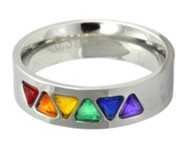 Rainbow CZ Triangles Ring - Gay and Lesbian Pride Stainless Steel Ring
