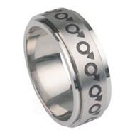 Mars Male Symbol Steel Spinner Ring - Steel Gay Ring