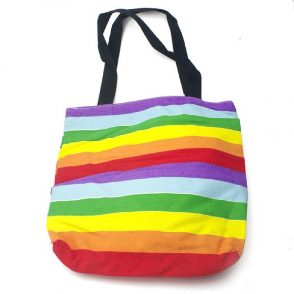 Large Full Rainbow Pride Tote Bag with zipper closure (16x15 inch) - LGBT Gay and Lesbian Pride