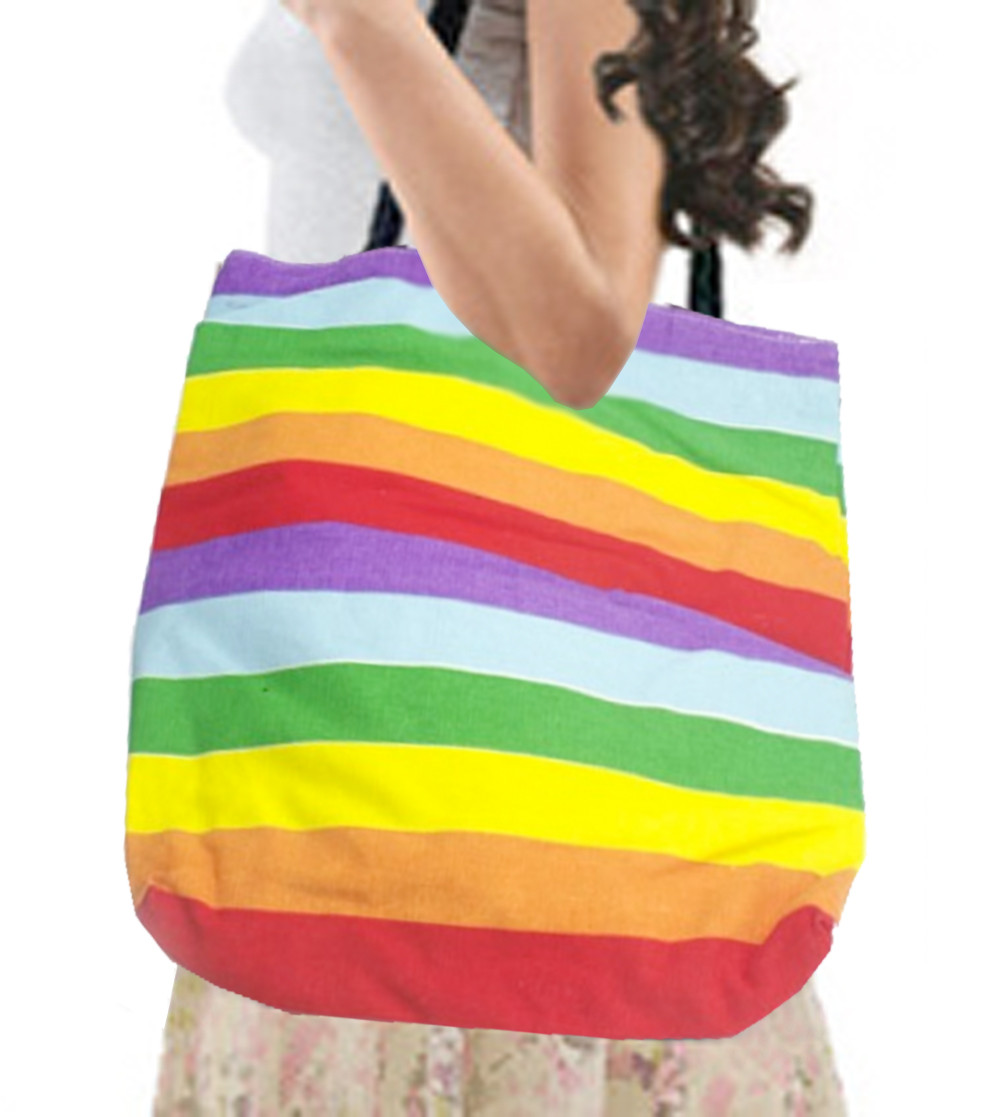 Image of Large Full Rainbow Pride Tote Bag with zipper closure (16x15 inch) LGBT Gay and Lesbian Pride
