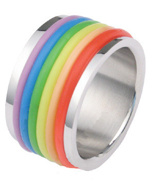 Image of Gay Rubber Rainbow Flag Ring Gay ∧ Lesbian Pride