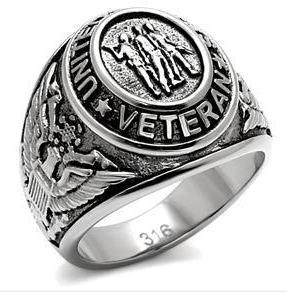 Veteran - Military Ring (Silver Color) - USA War Vet.