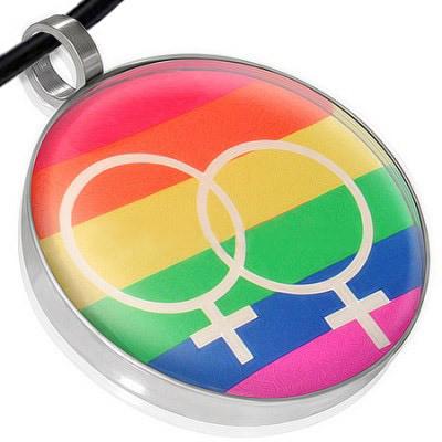 Lesbian Double Female Symbol Disc Lesbian Pendant - Rainbow LGBT Lesbian Pride Necklace w/ Chain
