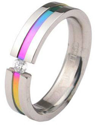 Rainbow Anodized Tension CZ Stone Ring - LGBT Gay and Lesbian Pride