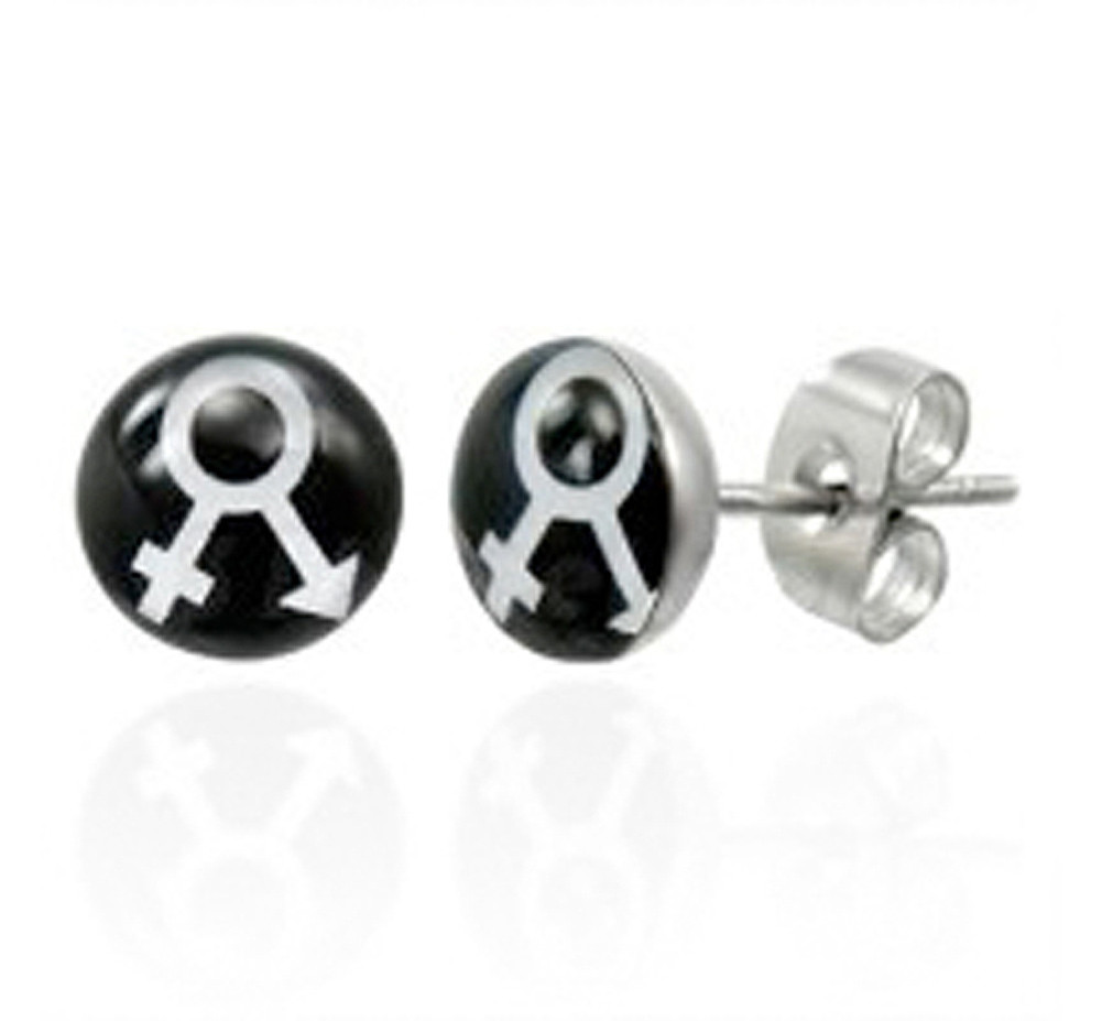 Male Female Symbol Earrings - LGBT Pride - Stud Earrings (Black & White)