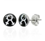 Male Female Symbol Earrings - LGBT Pride - Stud Earrings (Black & White)