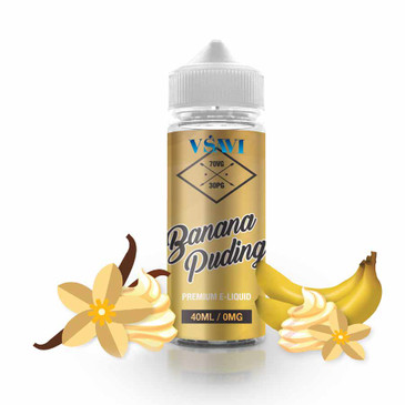 Short filled Shake-n-Vape e Juice. Banana Pudding flavour