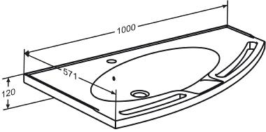 MATRIX ANGLE wash basin with overflow, right-facing