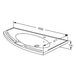 MATRIX ANGLE wash basin with overflow, left-facing