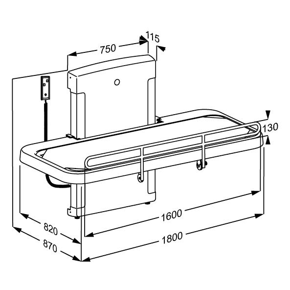 Nursing bench 2000, electrically height adjustable