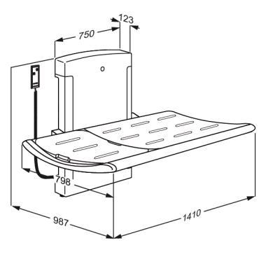 Nursing bench 3000, electrically height adjustable