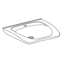 Pressalit MATRIX NEW CURVE R2053 ergonomic wash basin. 600 x 487 mm. Incl. drain fitting, without overflow, with tap hole