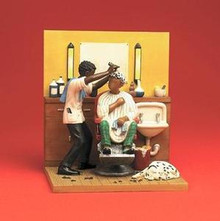 A Scene From Spit Shine The Barber's Chair Figurine - Annie Lee
