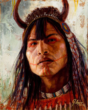 Assiniboin-Warrior-Assiniboin-Painting-James-Ayers